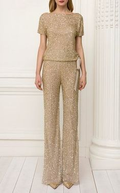 Bay Short Sleeve Beaded Top with Estella Wide Leg Pant by Jenny Packham Pre-Fall 2018