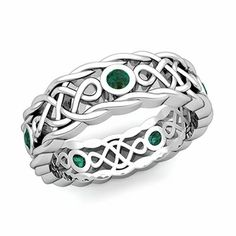 Customizable Celtic Knot Wedding Band Ring with Emeralds and Diamonds