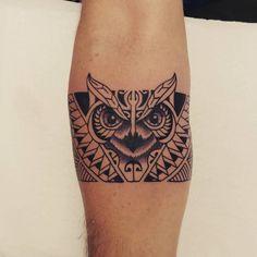 Tribal Owl Tattoos, Mens Owl Tattoo, Leg Tattoos, Tatoos, Lion Tattoo, Band Tattoo Designs, Owl Tattoo Design, Small Tattoo Designs, Owl Tattoo Small