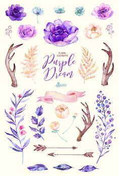 This set of high quality hand painted watercolor elements: Floral, Arrows, Banner. Perfect graphic for wedding invitations, greeting cards, photos,