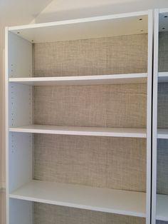 burlap backing on an IKEA bookshelf