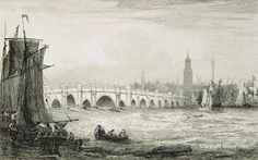 London Bridge, 1814. Copyright MOTCO. Note the whirlpools! This links through to a fascinating excerpt from 'Lavengro' by George Borrow, where he describes the bridge and its treacherous eddies.