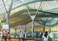 Image 4 of 8 from gallery of Amtrak and HOK unveils design for new Washington Union Station. Escalators down to the Central Concourse - Courtesy of HOK Union Station, Metro Station, Bus Station, Train Station, Architecture Concept Diagram, Roof Architecture, Union Market Dc, Tree Structure, National Landmarks
