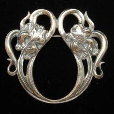 Iris Flowers Art Nouveau Silver Tone Pin Vintage