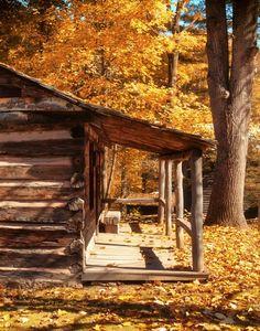 Cabin Porch In The Fall