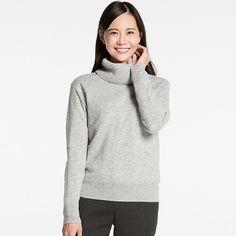 Women's Cashmere Turtleneck Sweater, LIGHT GRAY, large