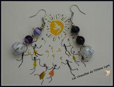 Boucles d'oreilles Vintage Fantaisie Rétro chic. Perles fines. Agates violettes et perles stardust. Bijoux Créateur. : Boucles d'oreille par les-virevoltes-de-l-oiseau-lyre