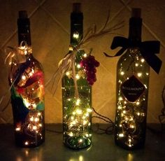 DIY your Christmas Bottles What you need:  1. some empty bottles(wine bottle, beer bottle, Coca Cola bottle) 2. a fairy light  Production methods: 1. clean the bottles 2. buy a fairy light ((you can buy it in beiyi http://www.amazon.co.uk/gp/product/B00G9ZNNF4  http://www.amazon.co.uk/gp/product/B00GUB43YC) ;) 3. draw something on the bottle  4. put the light into the bottle or tape the bottle. 5. turn on the light! Now, you've got a beautiful Christmas Bottle!!! ;P