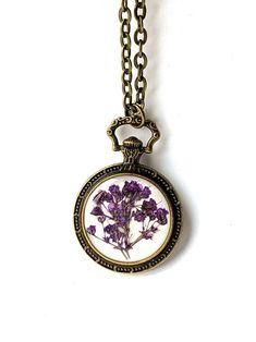 Fleur Améthyste Bague Pendentif Chaîne Gemme 18K Gold Filled Jewelry Sets Boucle d/'Oreille