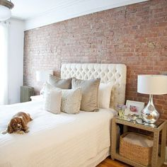 Love the #brickwall in the #bedroom and the #dog :)