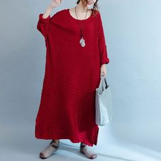 New Autumn Winter Retro Long Loose Knit Red Dress