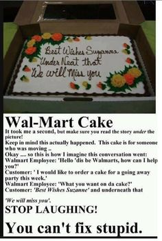 » Walmart Cake – Stop laughing, you can't fix stupid!