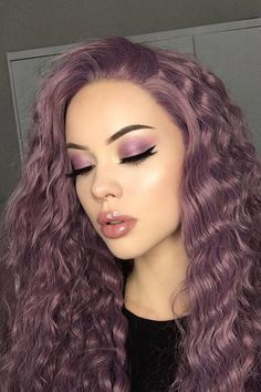 purple hair A perfect lookDo you like the mysterious and romantic purple Hair Color Purple, Hair Dye Colors, Cool Hair Color, Burgundy Hair Colors, Reddish Purple Hair, Curly Purple Hair, Hair Color Ideas, Purple Hair Streaks, Purple Makeup Looks