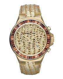 Michael Kors Michael Kors Oversize Lizard-Embossed Gramercy Chronograph Glitz Watch
