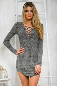Women Sexy Deep V Long Sleeve Bandage Dress Winter Knitted Casual Sweater  Pullover Gray Sweaters 0878ba05d8f