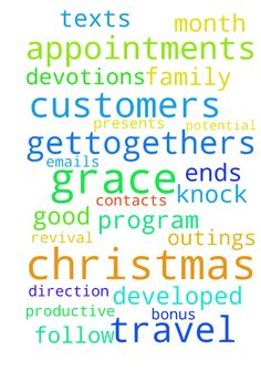 Grace for Work and Christmas Break -  I ask for direction to good areas, grace to knock on doors, follow up contacts, form well developed emails, texts amp; phone calls to all my customers and potential customers articulating our program. I ask for 24 appointments and 13 sales this month so I hit bonus and have a full schedule for January. I ask for wisdom for Christmas, for packing, travel, gettogethers and for Christmas presents. May I stay productive but also have down time for devotions…