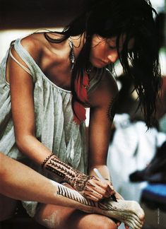 In Gypsy tradition, henna is painted on during the few days prior to the wedding. The longer the henna lasts, the longer the husband lasts (Bury Me Standing by Isabela Fonseca).