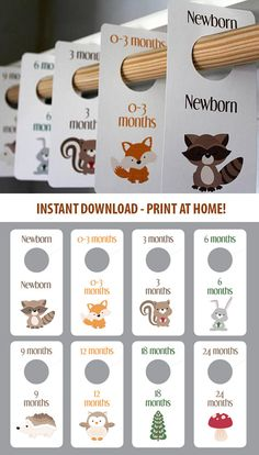 PRINTABLE Woodland Creatures - Baby Boy Closet Dividers - Animals - Baby Room - Nursery Decor - Nursery Organization - Baby Shower Gift #aff