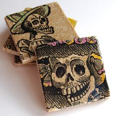 Day of the Dead stone coasters
