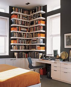 Corner office bookshelf