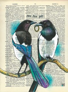 Two for Joy Magpie Tattoo, Crow Art, Bird Art, One For Sorrow, Illustrations, Illustration Art, Gcse Art Sketchbook, Palette Knife Painting, Dictionary Art