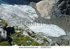 Rocks, grass and glacier (Oberer Grindelwaldgletscher) nearby Grindelwald in Alps in Switzerland