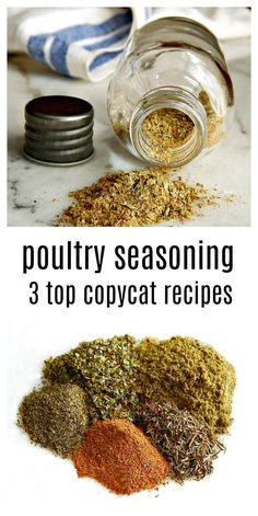 It's easy to whip up your own fresh, flavorful poultry seasoning - here are the three top copycat recipes for Schillings, Bells and McCormick's. Homemade Dry Mixes, Homemade Spice Blends, Homemade Spices, Homemade Seasonings, Spice Mixes, Turkey Seasoning, Stuffing Seasoning, Grilled Chicken Seasoning, Dry Rub Recipes