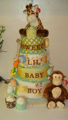 Timeless Treasures – Unique Favors and Gifts for All Occasions Safari Diaper Cakes, Monkey Diaper Cakes, Nappy Cakes, Baby Shower Crafts, Baby Shower Parties, Baby Boy Shower, Baby Showers, Baby Shower Giveaways, Creative Crafts