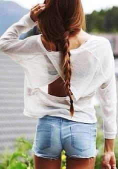 Cutout Back Long sleeved Shirts - White. Light knit long sleeve with a cutout in the back paired over denim shorts