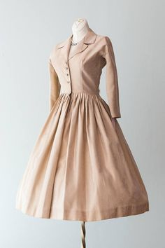 Vintage 1950s Dress Sweet 50s Champagne Colored Brocade