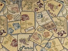 Stoff Blumen - 996 Gobelinstoff  Rosen Vintage - ein Designerstück von pretty-child bei DaWanda