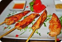 Mango-Chicken Skewers with Coconut Peanut Sauce