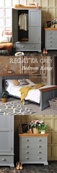 The Regatta Grey Bedrooom Range from The Cotswold Company featuring beautifully grey painted bedroom furniture including chests of drawers, beds, blanket boxes,. Pine Bedroom Furniture, Grey Furniture, Upcycled Furniture, Furniture Decor, Painted Furniture, Vintage Furniture, Furniture Layout, Furniture Dolly, Furniture Showroom