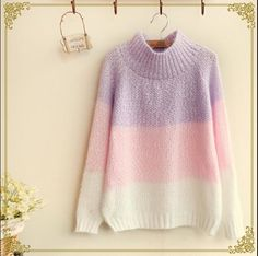 Cute Sweet Pastel Gradient Slouchy Sweater | http://bonbonbunny.com/archives/4022/pink-and-lavender-clothing-for-kawaii-pastel-style-sweetness