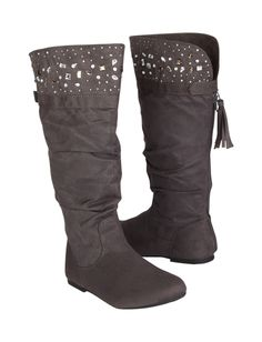 love these in gray size 5 - 6  Studded Cuff Boots | Boots | Shoes | Shop Justice