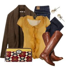 """""""Colorful Clutch"""" by qtpiekelso on Polyvore  Love this top!  Meh on the cardigan.  I have jeans and boots that look just like those.   Get your own personal stylist @ StitchFix  https://stitchfix.com/referral/3503147"""