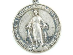 Vintage Immaculate Conception - Sacred Heart of Jesus Catholic Medal - Religious Medallion - Virgin Mary Scapular Medal by LuxMeaChristus