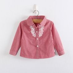 Girls Gingham Fashion Blouse with Lace, Ruffle Peplum and Bow at the back