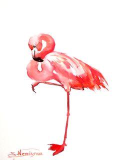 Flamingo, Original watercolor painting, 12 X 9 in, pink white wall art, flamingo paining, flamingo lover art