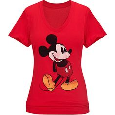 Mickey Mouse Tee for Women ($20) ❤ liked on Polyvore featuring tops, t-shirts, shirts, red t shirt, fitted t shirts, mickey mouse tops, vintage style t shirts and red mickey mouse t shirt