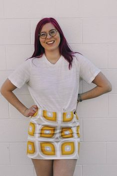Check Shirt, Geometric Designs, Looks Great, Zip Ups, Cashmere, Vintage Fashion, Mini Skirts, Shirt Dress, Yellow