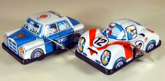 Vintage Tin Porsche Racing Car and Mercedes-Benz Patrol Car U-Turn W/U Toys from Japan, NOS by bobboot on Etsy