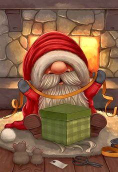 Little Santa wrapping a gift by Ploopie on DeviantArt – Animation ideas Christmas Scenes, Christmas Gnome, Christmas Art, Winter Christmas, Vintage Christmas, Christmas Ornaments, Christmas Picture Background, Christmas Paintings On Canvas, Christmas Fireplace