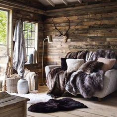 Faux Fur Range House of Fraser Chalet Design, Cabin Design, House Design, Cabin Interiors, House Of Fraser, Interior Design Living Room, Sweet Home, Decoration, Home Decor