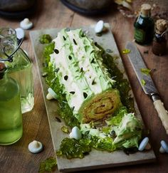 Snozzcumbers are the BFG's least favourite food but alas, they are all he can eat. Maybe this snozzcumber-inspired Swiss roll will taste a bit more delicious than the one in Roald Dahl's book...