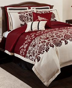 Estate Garden 8 Piece Comforter Sets - Bed in a Bag - Master Bedroom - Red, Cream & Black Bedroom Comforter Sets, Full Comforter Sets, Queen Comforter Sets, Red Bedding, Bed Sets, Bedroom Red, Home Decor Bedroom, Bedroom Ideas, Master Bedroom