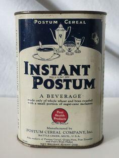 INSTANT POSTUM VINTAGE TIN, POSTUM CEREAL CO BATTLE CREEK MICH, PATENT DATE 1912 #INSTANTPOSTUM