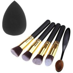 5 Pcs Makeup Brushes Set and Beauty Blender ($8.75) ❤ liked on Polyvore featuring beauty products, makeup, makeup tools and makeup brushes