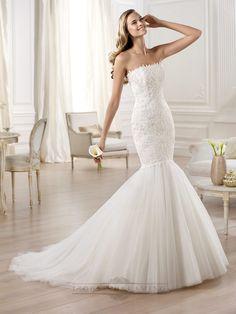 Strapless Mermaid Wedding Dress Featuring Applique Crystal