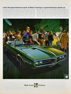 1968 PONTIAC FIREBIRD 400 Green Convertible Sports Car Muscle Car VINTAGE AD